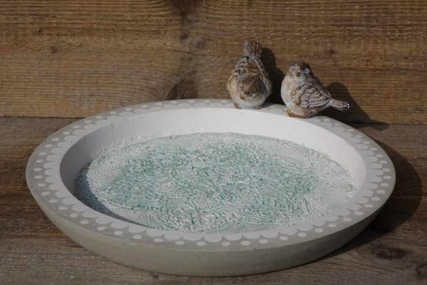 Vogeltränke weiss-grün mit Holzvogel
