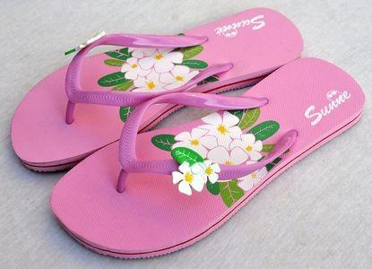 Plumeria Flip Flops Rubber pink