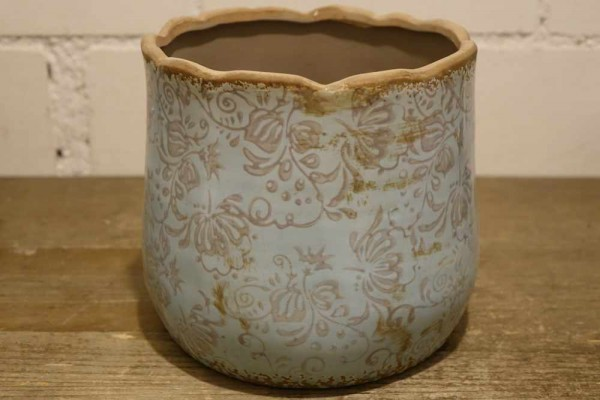Vintage Keramiktopf blau