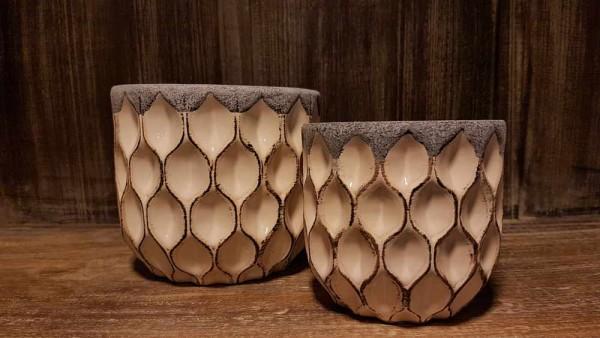 Keramiktopf creme-grau